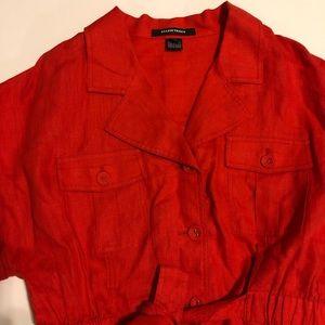 Ellen Tracy Tops - Ellen Tracy Orange Linen Button Down Lace Tie Top